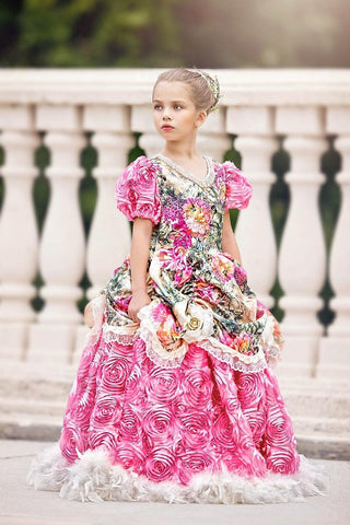 """Peacocks and Peonies""... One Of Our Custom Girls Formal Dresses"