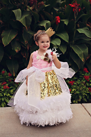 """Gala Glam""... A Gorgeous Sequin Feather Girls Ball Gown"