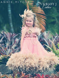 """Summer Sunset""...A Delightful Chiffon And Feather Trimmed Dress-- Size 18 month"