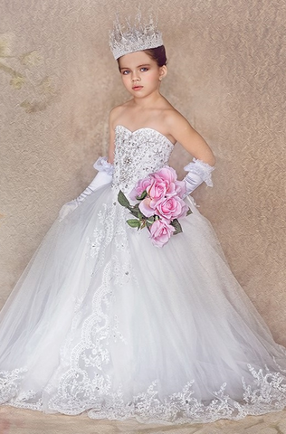 """Queen Of The Day""... One of our Unforgettable Princess Style Flower Girl Dresses"