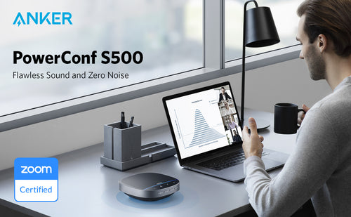 Make conference calls easier with a high-quality Anker conference speaker, like Anker PowerConf S500 Bluetooth speakerphone.