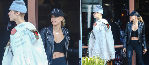 Justin Bieber and Hailey Baldwin Wearing Black Hat