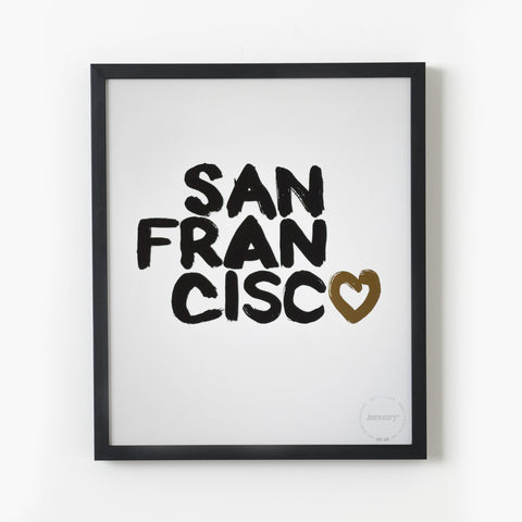 Heart San Francisco—Black & Gold Foil