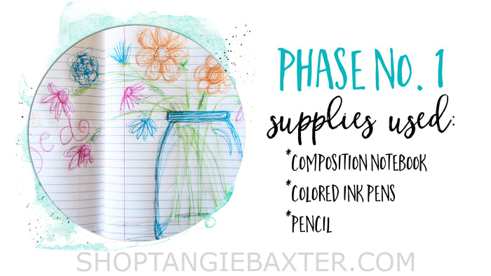 Beginner's Art Journaling Basics: Four phases of mixed-media supplies sample pages by Tangie Baxter @ ShopTangieBaxter.com