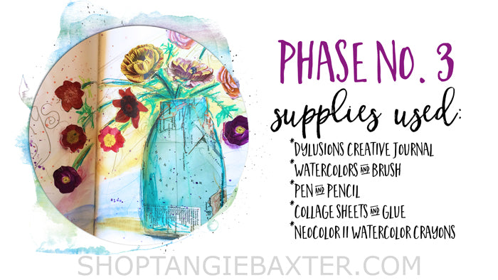 ginner's Art Journaling Basics: Four phases of mixed-media supplies sample pages by Tangie Baxter @ ShopTangieBaxter.com