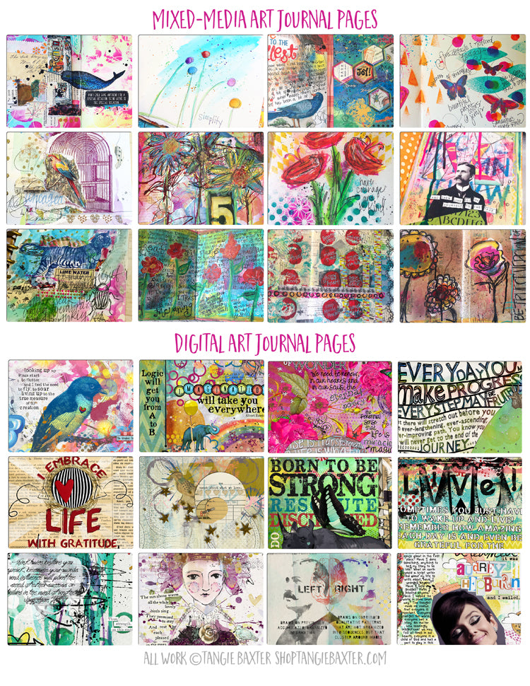 Art Journal pages by Tangie Baxter @ TB&CO. Discover the artist within you-download our FREE beginner's guide to Art Journaling.