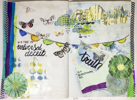 Art journal page by Karli-Marie featuring Tangie Baxter's Grab Bag #19 - TB&CO