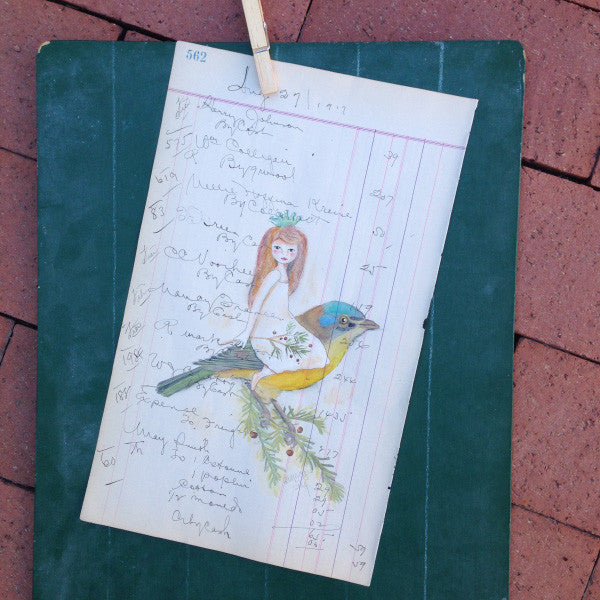 No. 562 Original Artwork on Antique Ledgers by Rebecca (Price includes shipping)