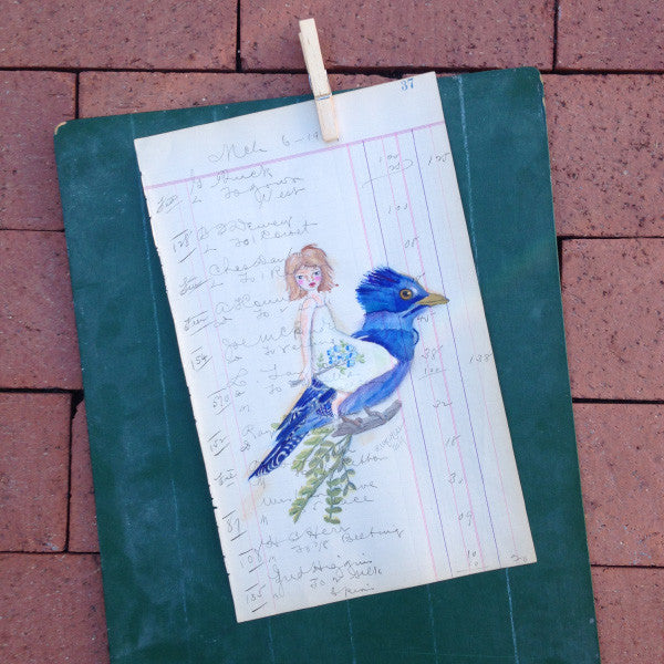 No. 37 Original Artwork on Antique Ledger by Rebecca (Price includes shipping)
