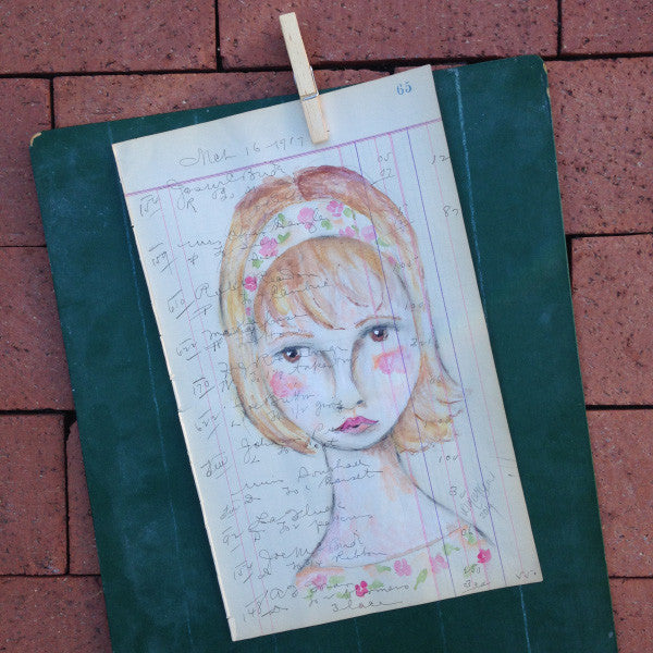 No. 65 Original Artwork on Antique Ledger by Rebecca (Price includes shipping)