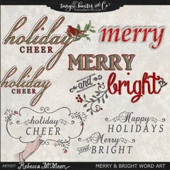 Merry & Bright Word Art