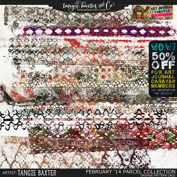 Art Journal Caravan 2014 {February Collection} Grunge Pattern Lace