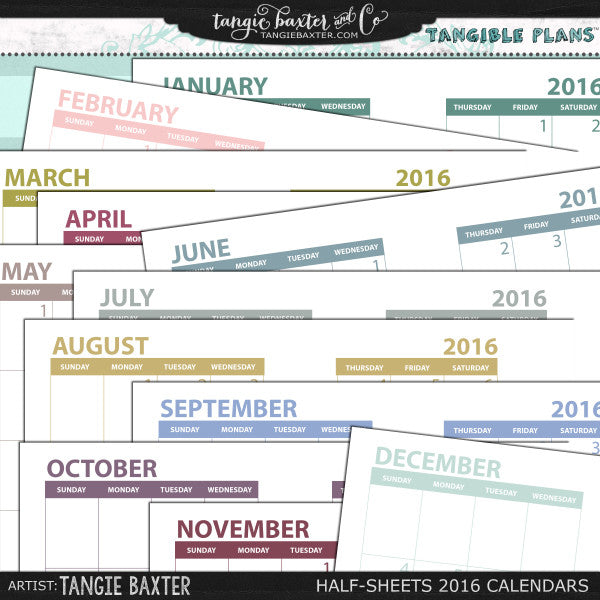 Tangible Plans™ Half Sheets 2016 Graphic Calendar