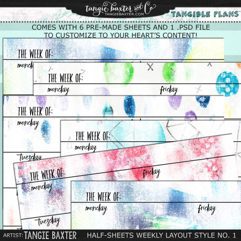 Tangible Plans™ Half Sheets Weekly Layout Style No. 1
