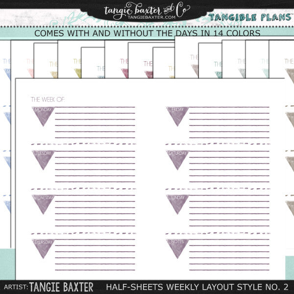Tangible Plans™ Half Sheets Weekly Layout Style No. 2