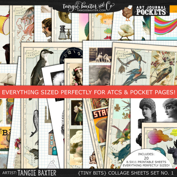 Tiny Bits Collage Sheets for ATCs & Pocket Letters