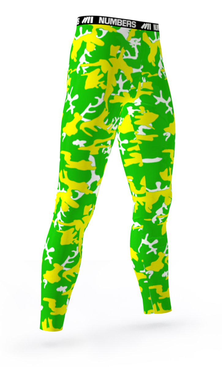 09a361da02 OREGON DUCKS CROSSFIT GYM WORKOUT ATHLETIC SPORTS TEAM COMPRESSION TIGHTS  COLORS YELLOW GREEN WHITE