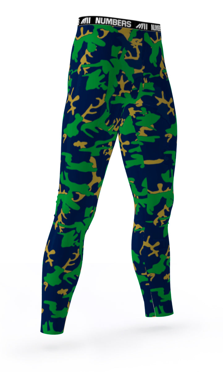 2aed3b1f09 NOTRE DAME FIGHTING IRISH COLORS ATHLETIC FOOTBALL BASKETBALL COMPRESSION  TIGHTS FOR SPORTS TEAMS UNIFORMS; GREEN