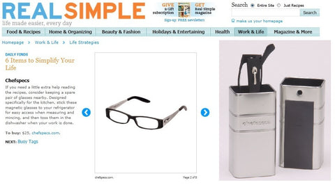 ChefSpecs featured product in Real Simple magazine