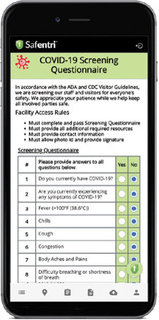 Safentri covid questionnaire continued in app