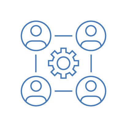 4 outlines of people with cog in the centre