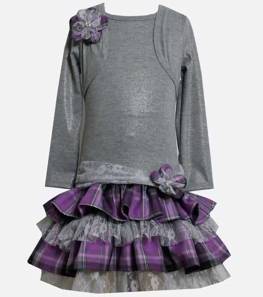 Girls gray and purple tiered dress