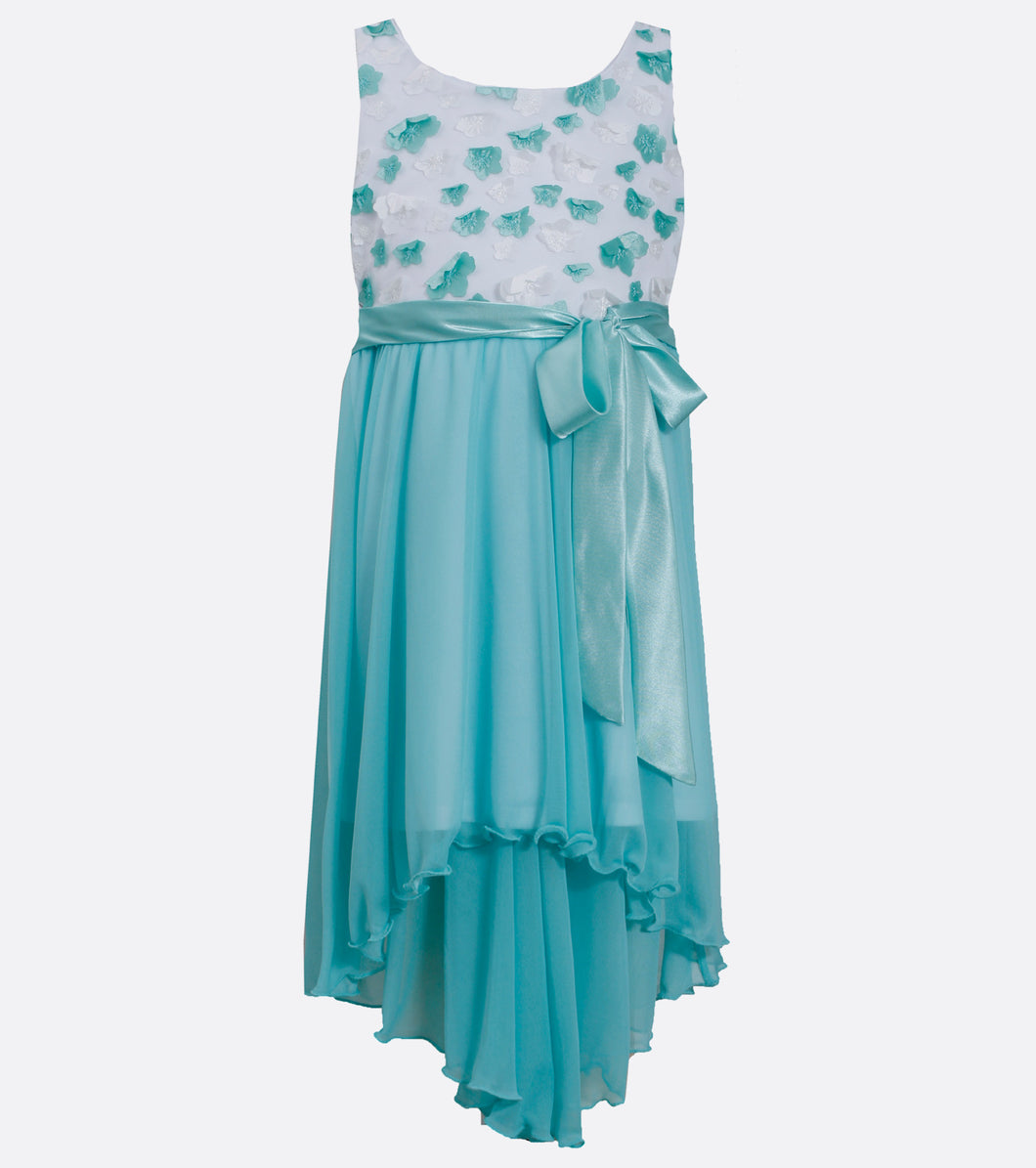 Girls aqua hi-low dress
