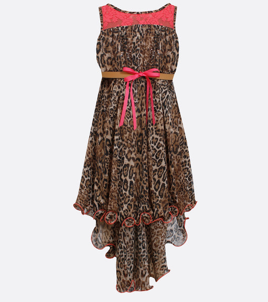 Girls animal print and coral hi-low dress