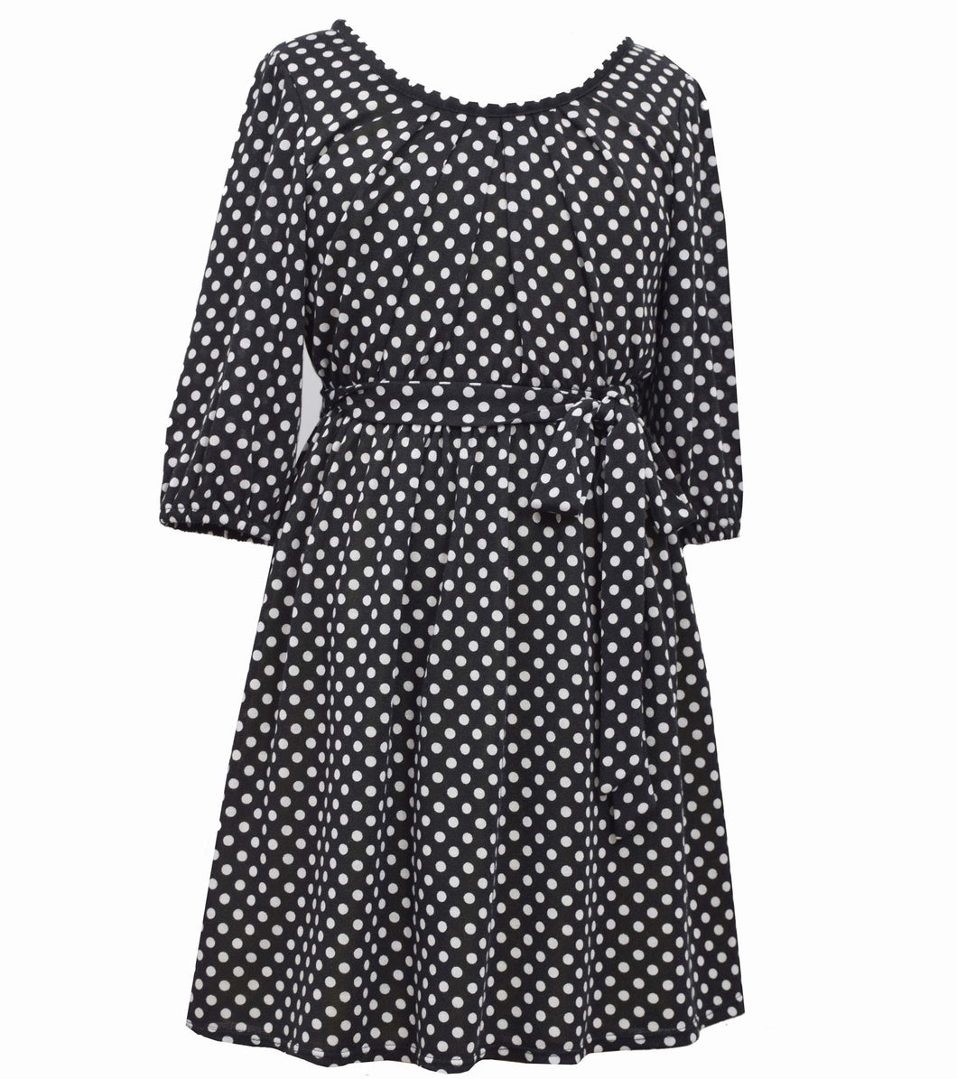 Bonnie Jean black and white polka dot dress