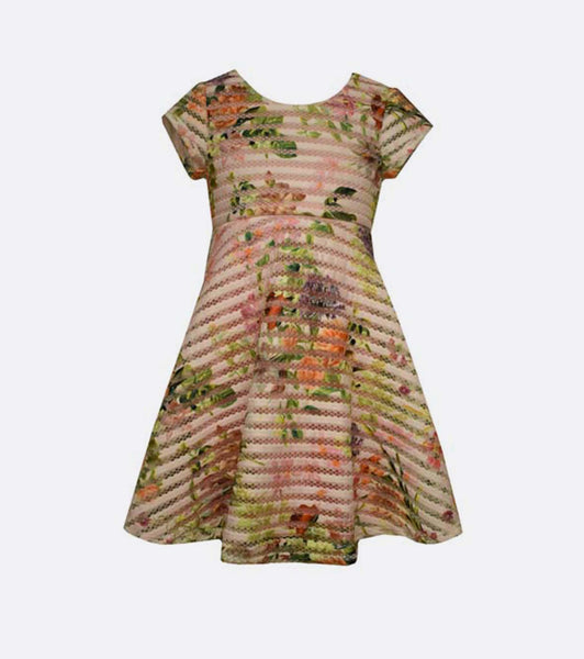 Bonnie Jean floral mesh jacquard stripe dress