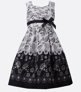 Bonnie Jean black and whtie floral border dress