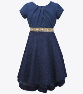 Bonnie Jean metallic navy party dress