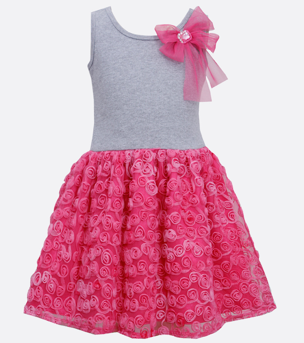 Gray and Fucshia bonaz dress with bow