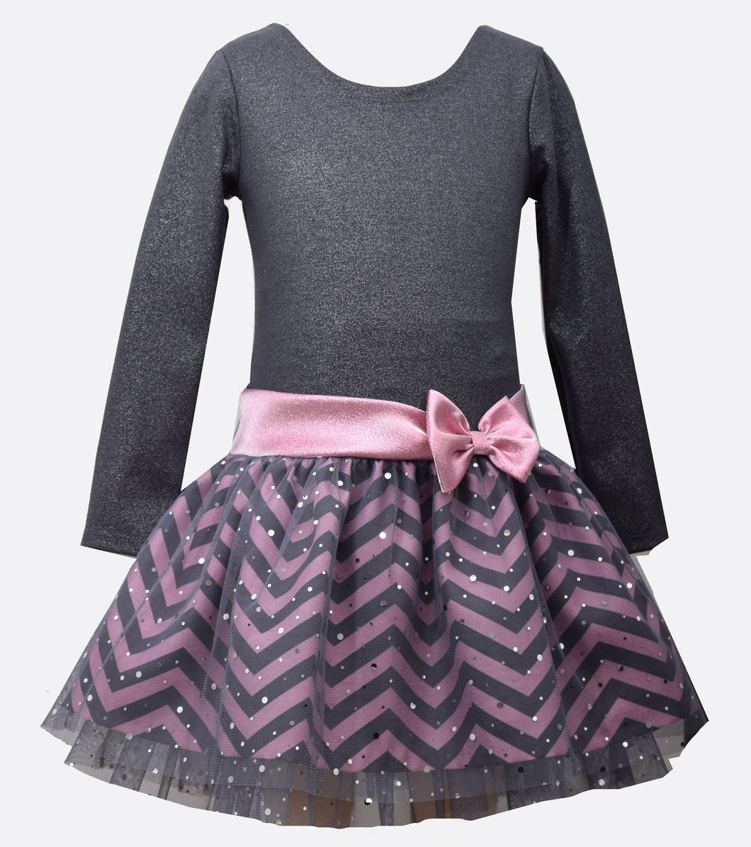 Bonnie Jean Pink and Gray Chevron Drop Waist Dress