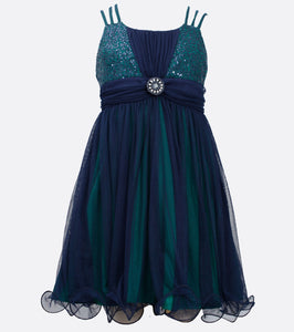 Bonnie Jean navy blue and green party dress