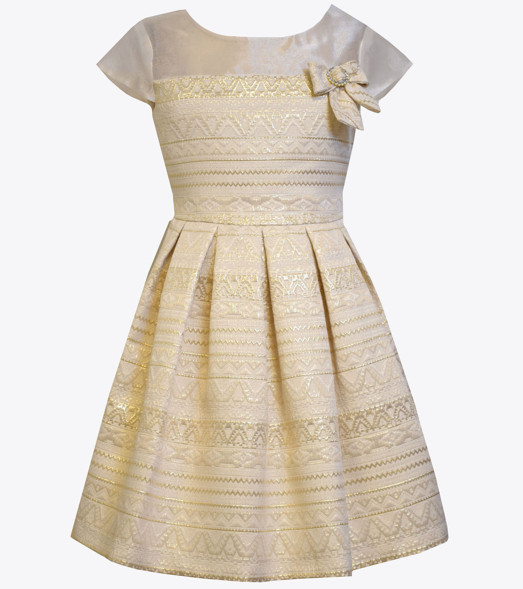 Bonnie Jean gold brocade dress