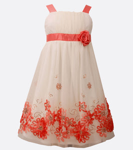 Bonnie Jean coral bonaz border party dress