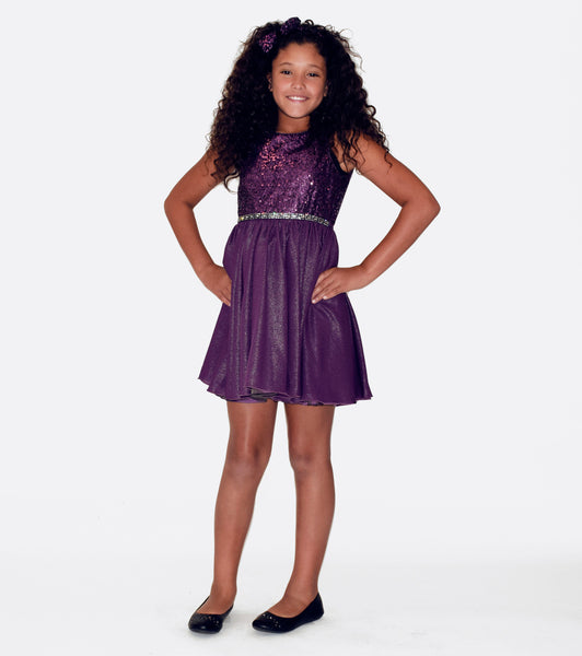 Bonnie Jean purple sequin and shimmer dress