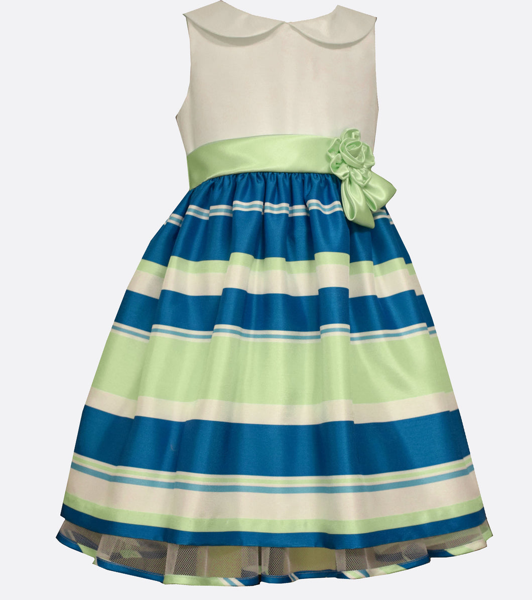 Bonnie Jean teal and green stripe shantung party dress