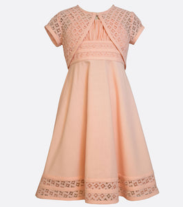 Bonnie Jean Peach Linen Dress with Lace cardigan