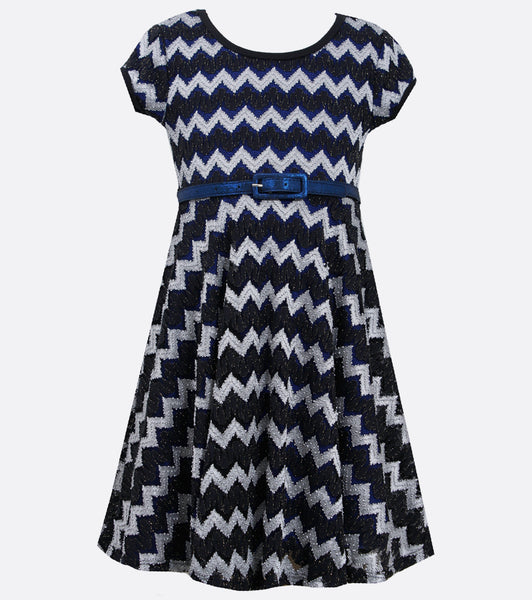 Bonnie Jean black and silver chevron lace dress