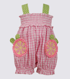 Bonnie Jean Grapefruit seersucker coverall