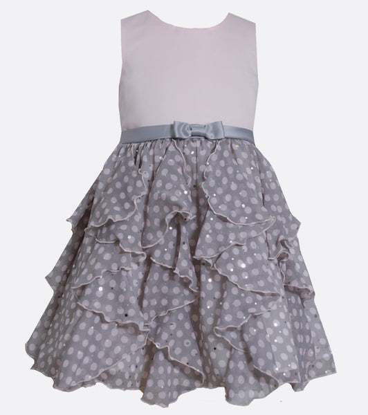 Bonnie jean pink and gray polka dot ruffle dress