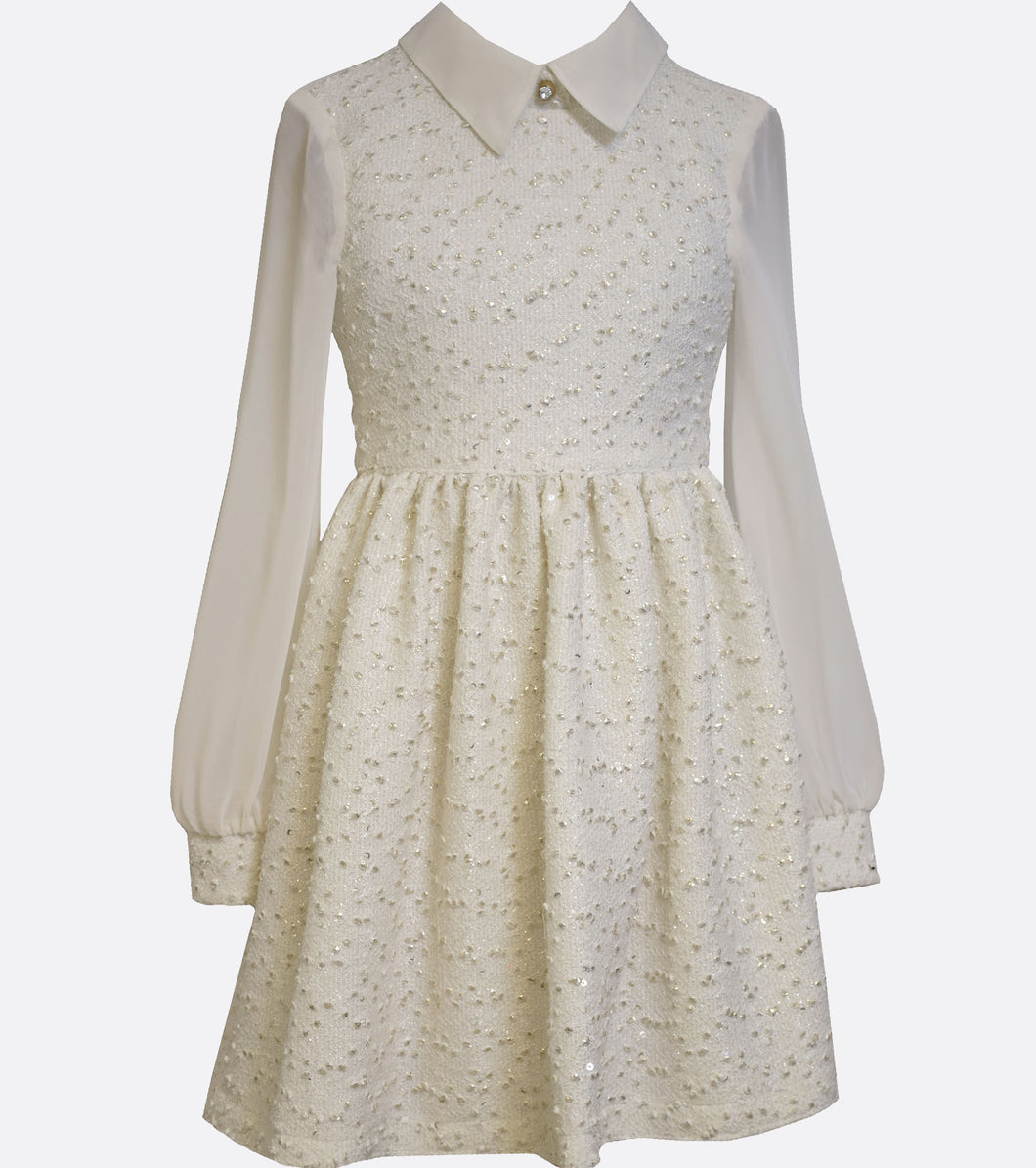 Bonnie jean gold and ivory collared winter dress