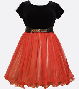 Bonnie Jean stretch velvet to red and gold party dress