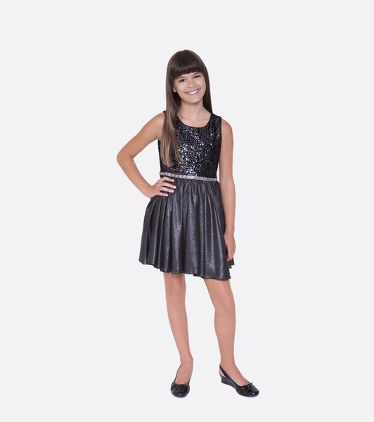 Bonnie jean black sequin and shimmer dress