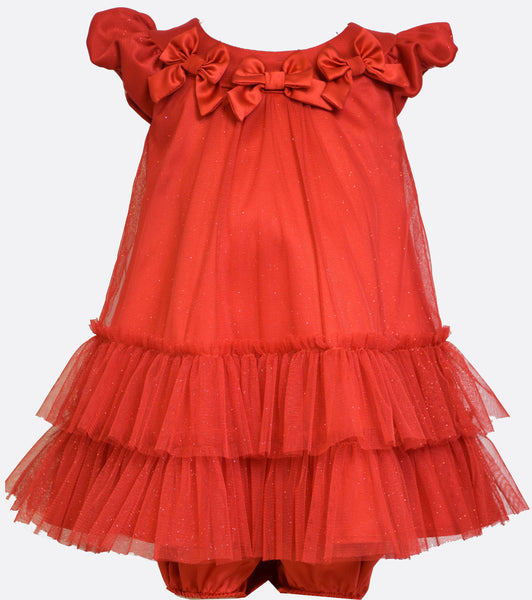 Bonnie Jean multi-tiered red mesh dress with red bow embellished neckline.