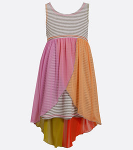 Bonnie Jean knit and chiffon hi low dress
