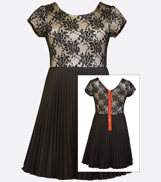 Bonnie Jean black and gold dress with a floral lace bodice and pleated skirt.