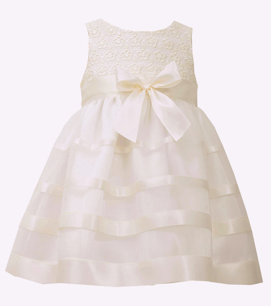 Bonnie Jean ivory ribbon party dress